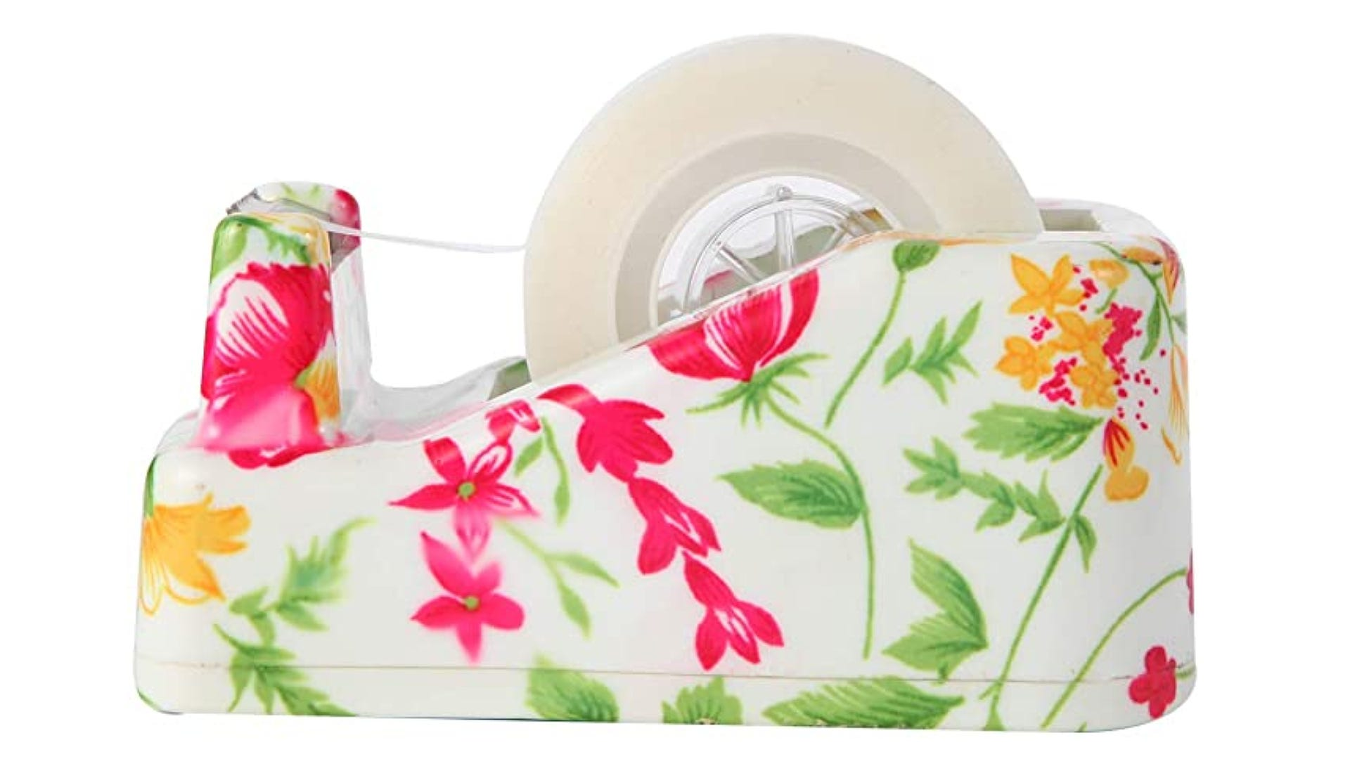pink and yellow flower print tape dispenser with roll of tape