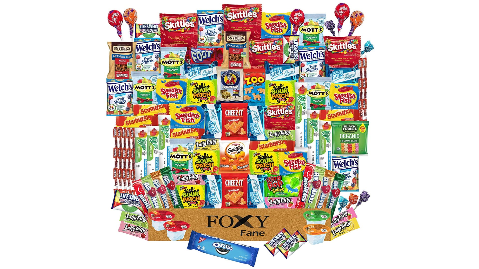 One hundred different candies and salty snacks are laid out above their packaging.