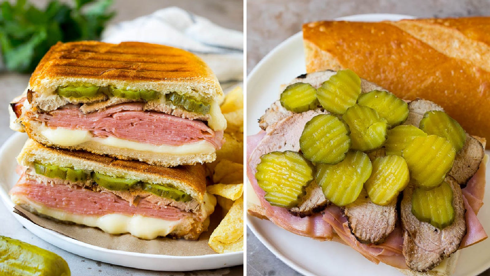 Two images featuring a cuban sandwich filled with pickles, ham, cheese and sliced pork.
