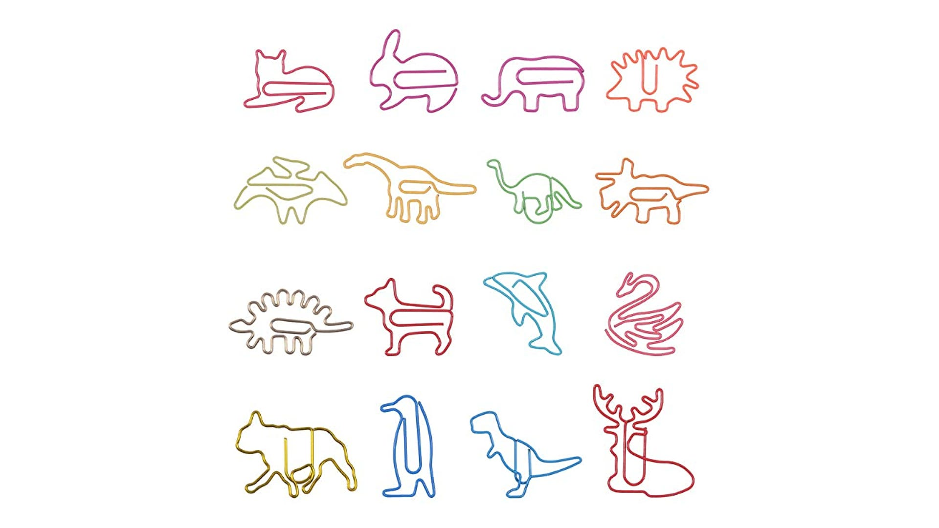 Multi-colored animal shaped paper clips.