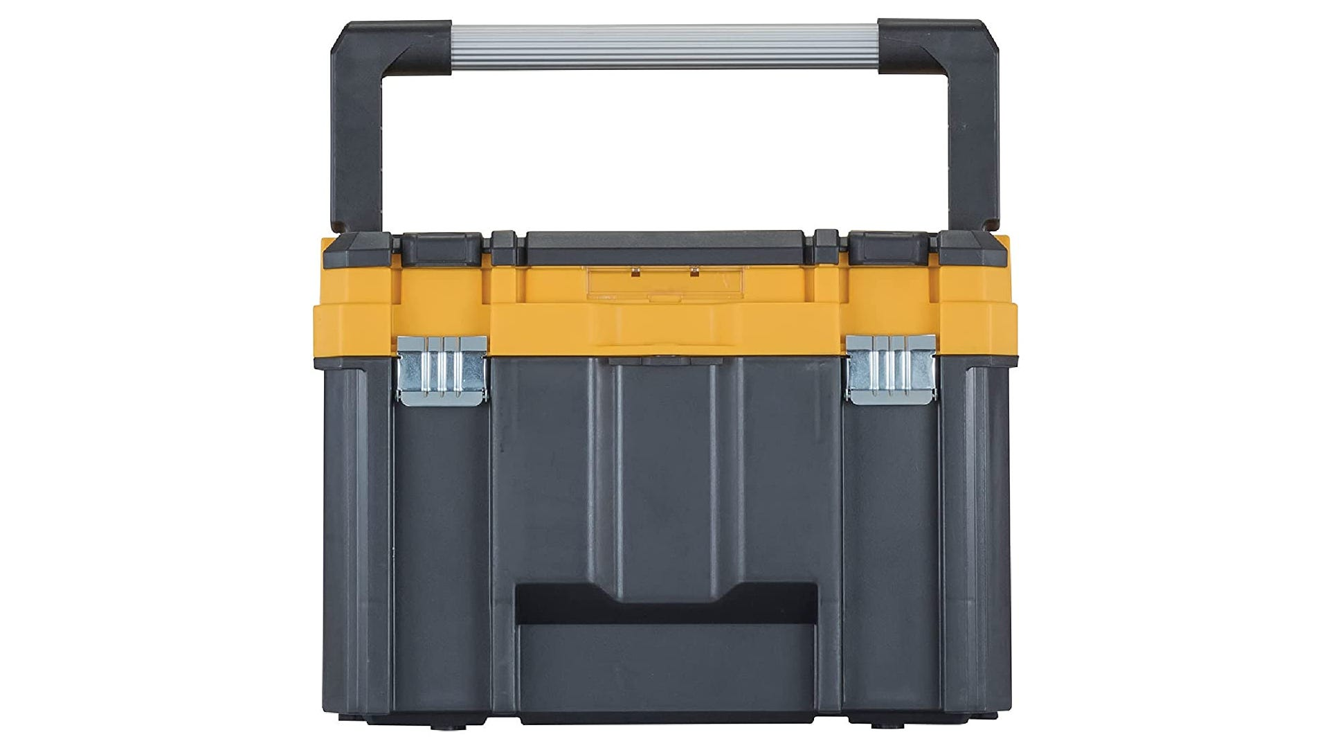 A tall, black and yellow toolbox with a wide handle.