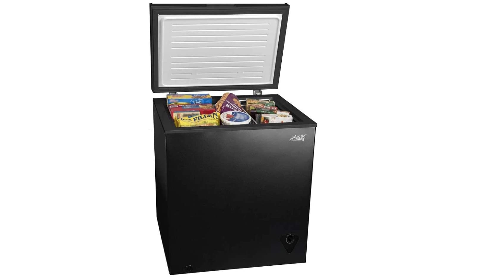 cubic black chest freezer open to show packaged food inside