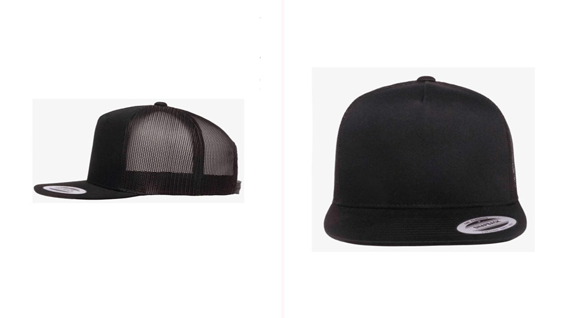 Two views of a black hat with a flat bill and mesh.