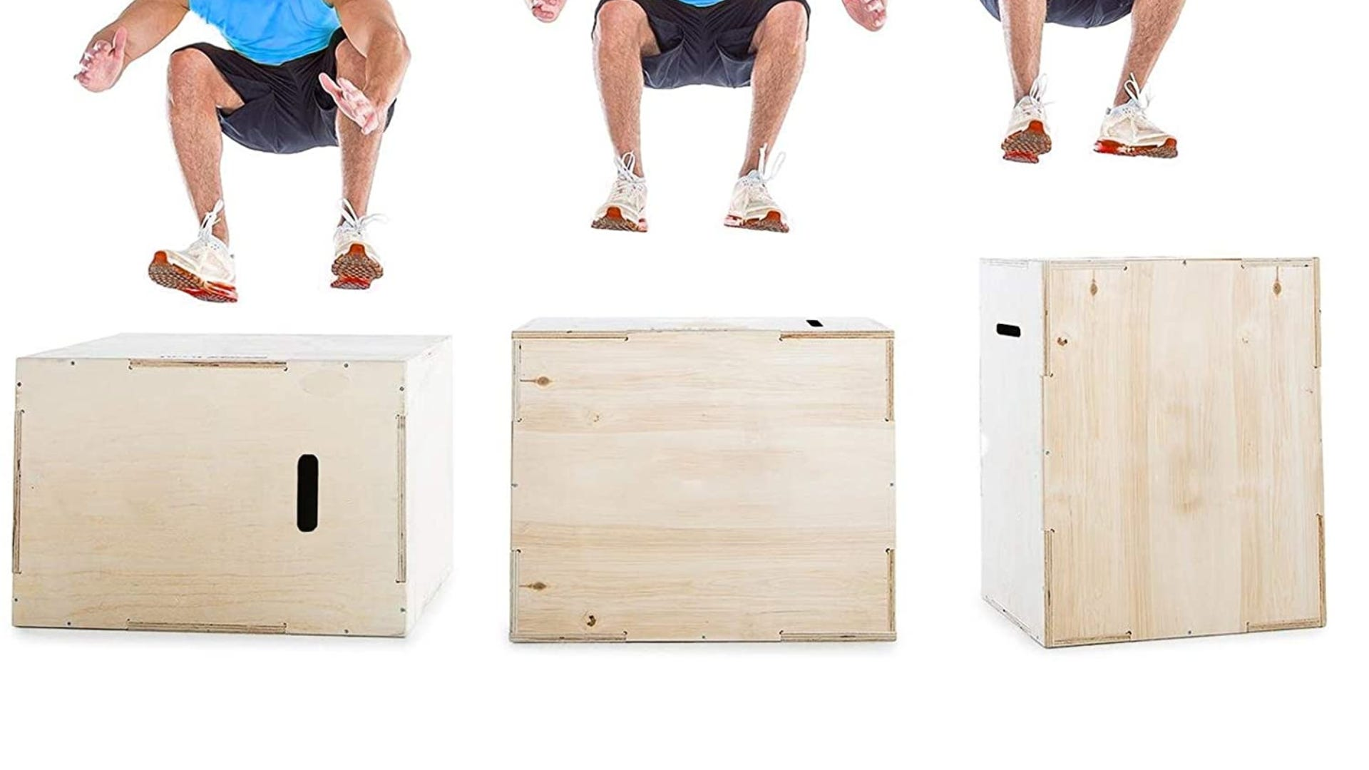 Three wooden plyometric boxes set at different heights with a man jumping onto them.