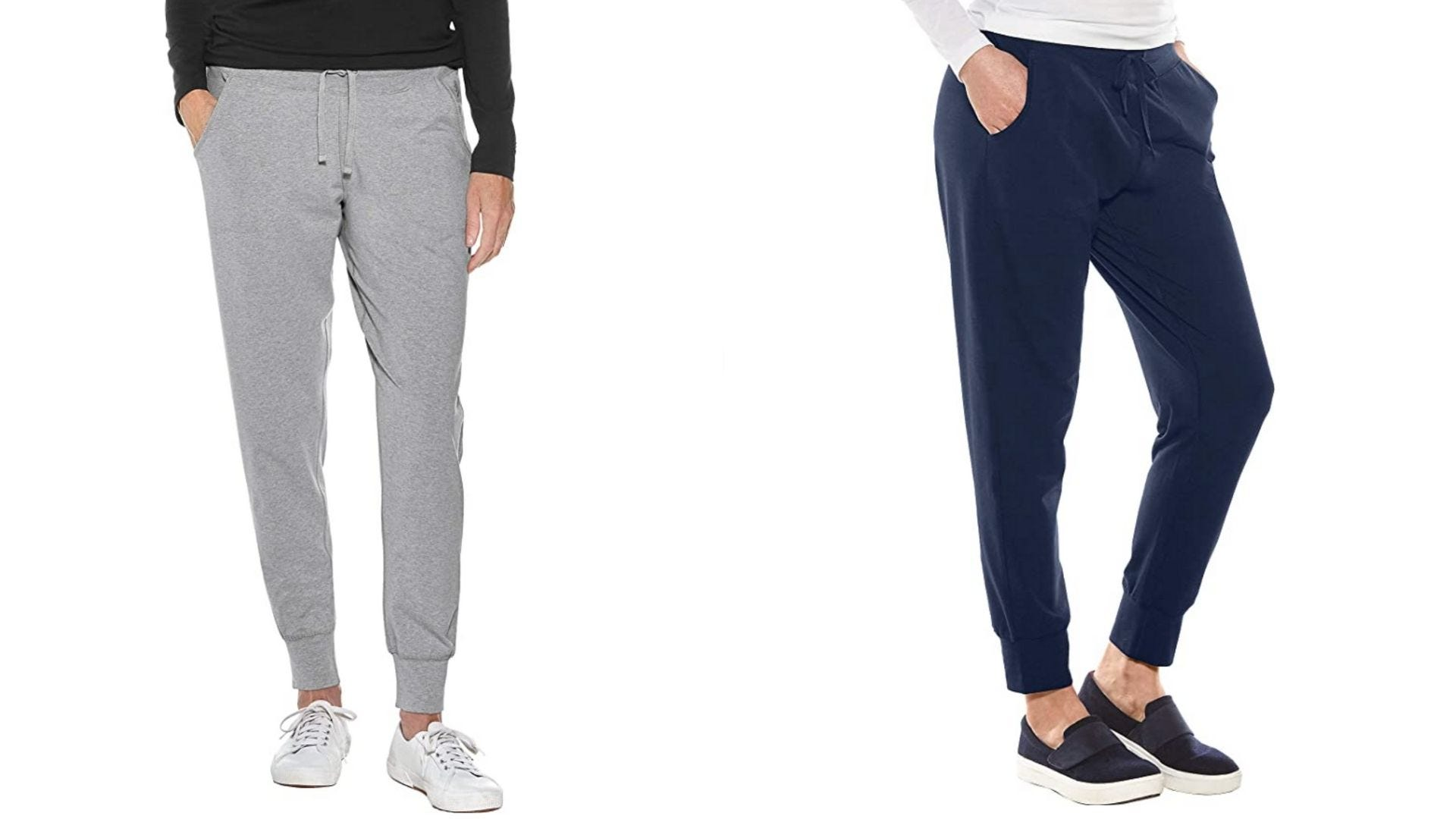 Two women wear fitted sweatpants