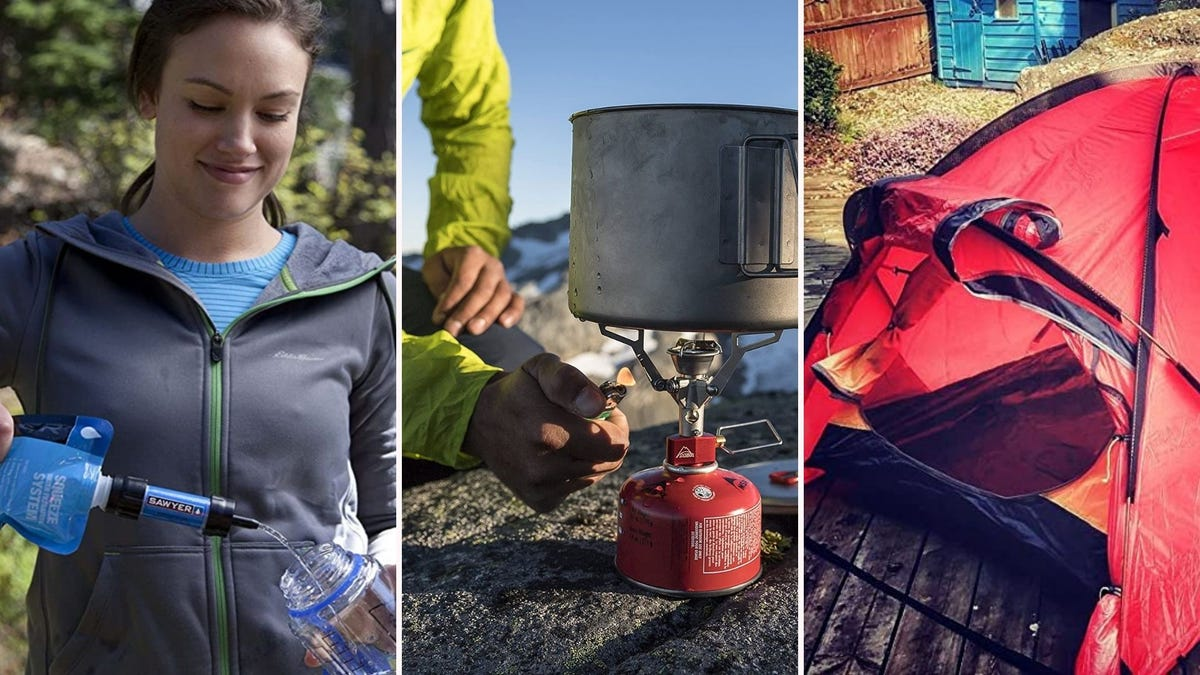 Three images featuring products from the article below, including a water filter by Sawyer Products, a fuel tank by MSR and a Geertop backpacking tent.