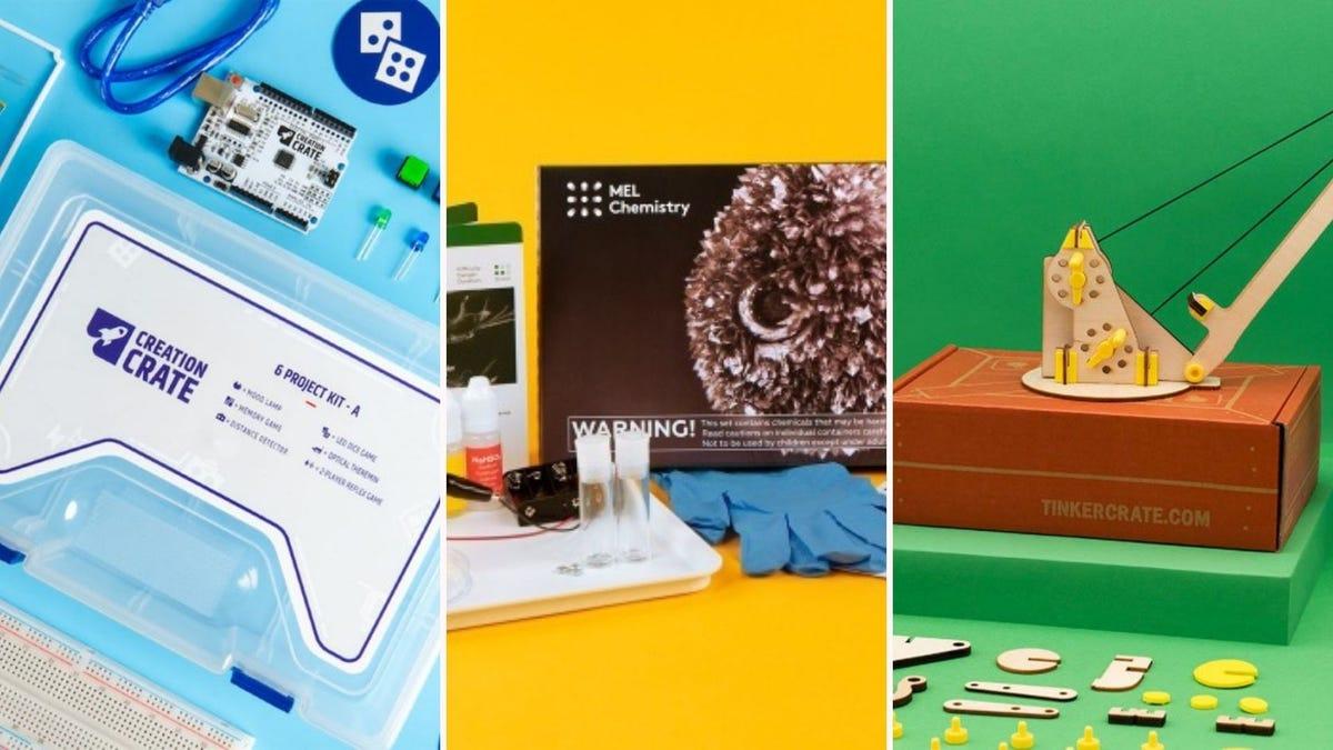 Three science box kits with supplies