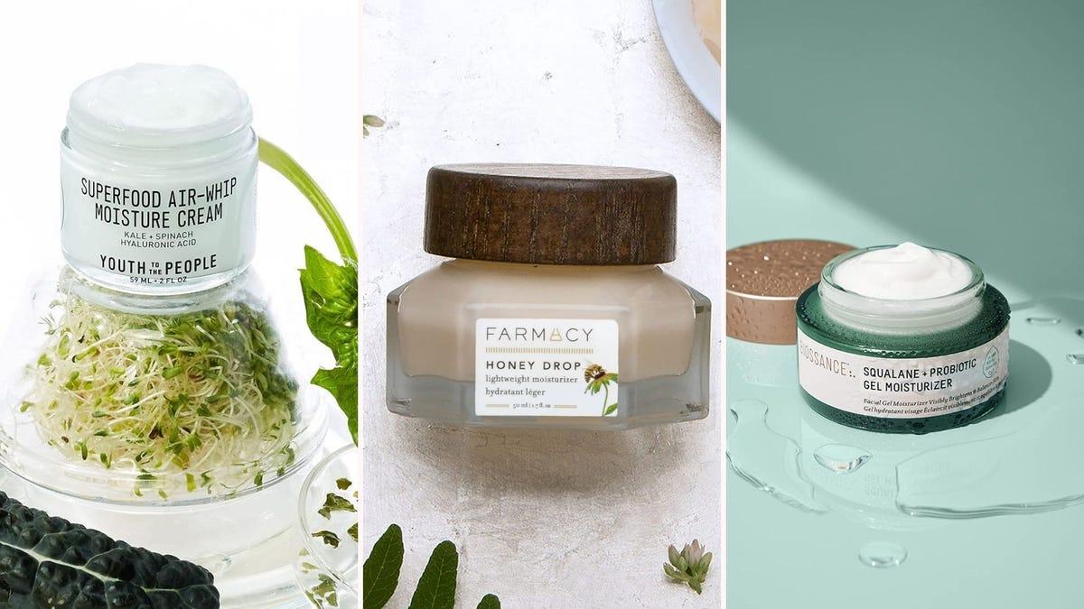 Three different jars of moisturizers