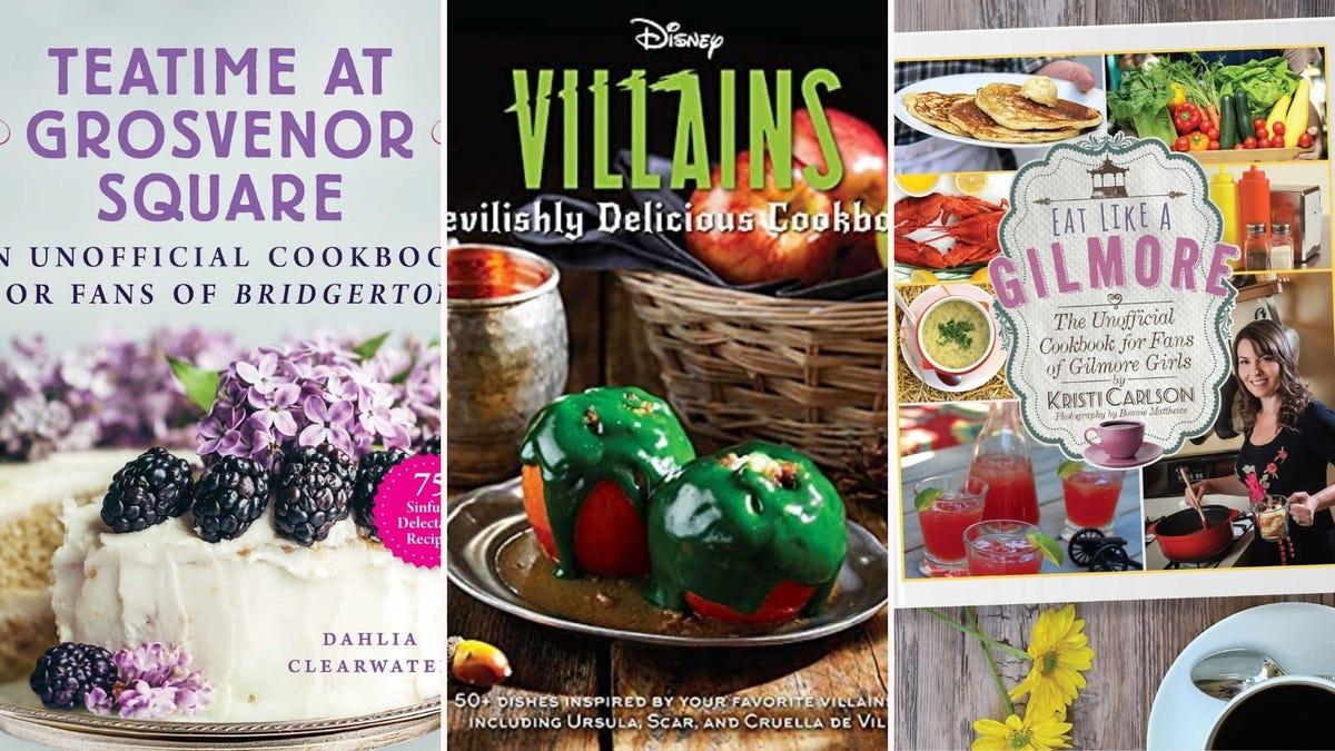 Three cookbooks based on 'Bridgerton,' Disney villains, and 'Gilmore Girls.'