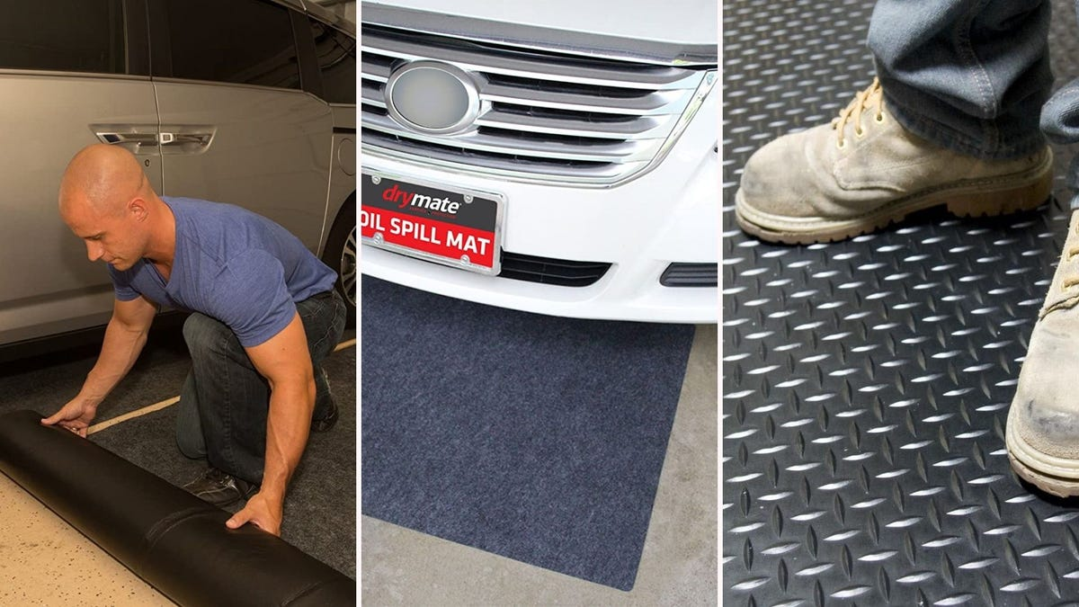 A man rolling out a garage floor mat, a car resting on another garage mat, and a person in boots standing on another mat