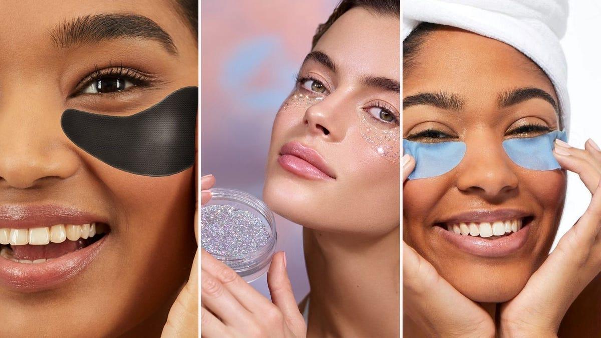 Three women applying different types of under eye masks