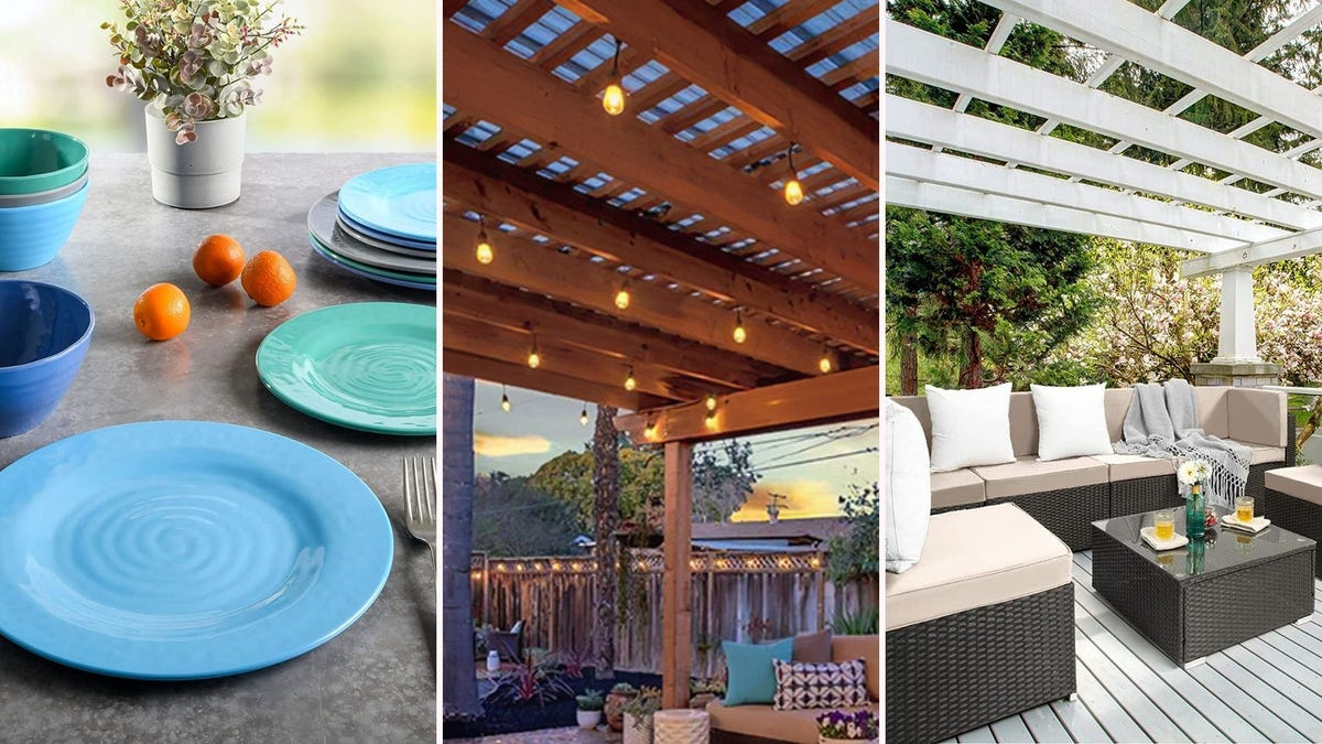 A set of blue and green dishes; string lights above a patio; a beige patio sofa set