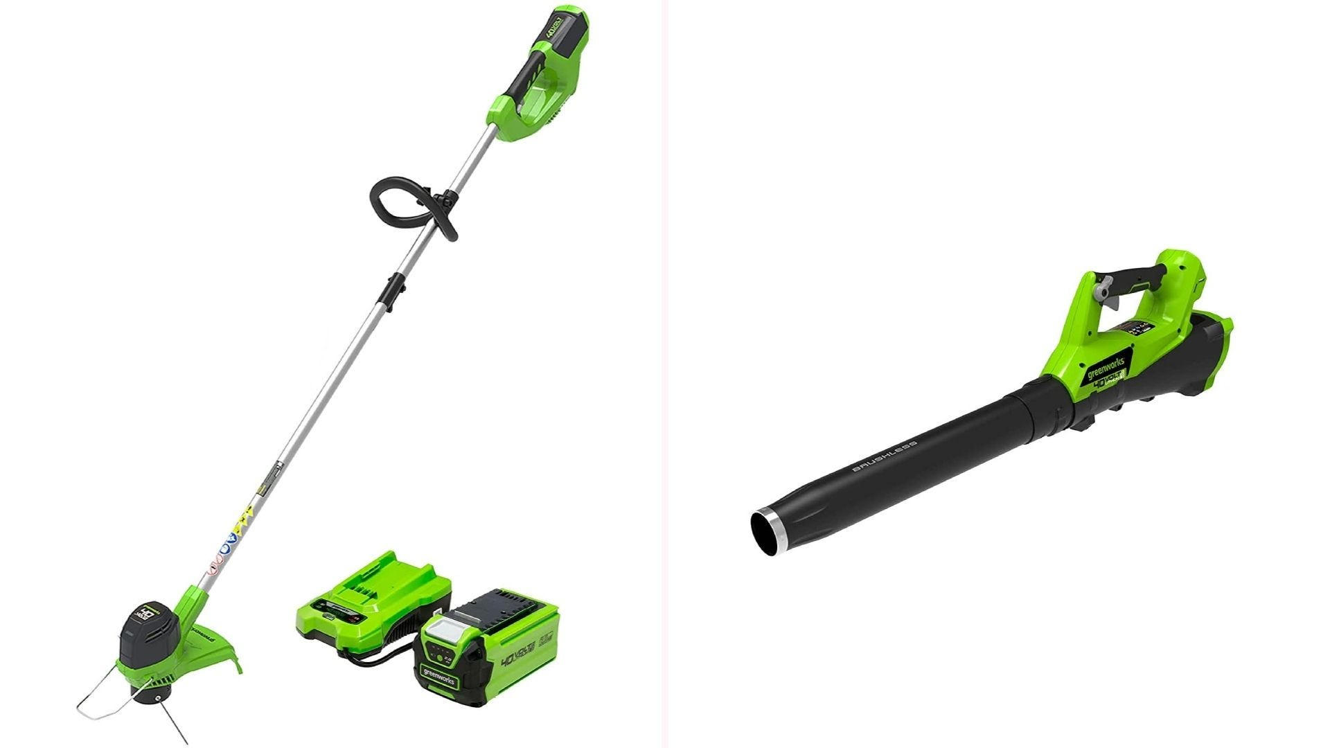 On the left is a green and black trimmer propped up next to charger and battery pack bearing the same colors. On the right is a green and black leaf blower.