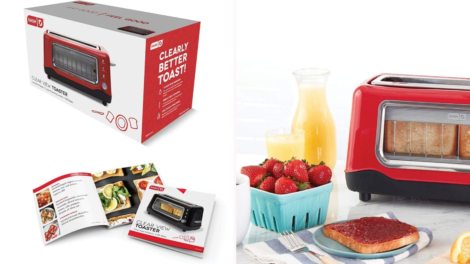 On the left, a red toaster with a see-through window sits in its packaging directly above a recipe idea booklet. On the right, the toaster sits on a counter next to a piece of jam-covered toast alongside other breakfast treats.