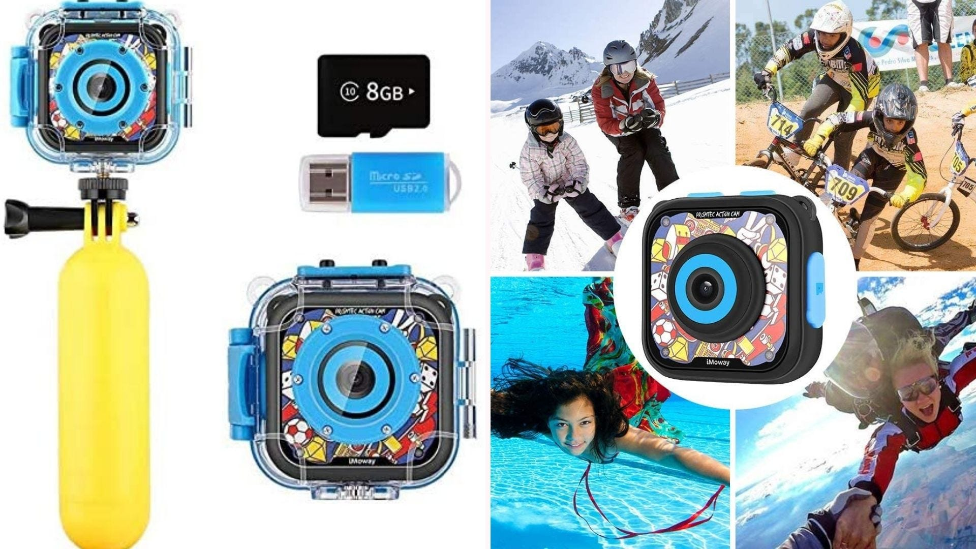 On the left, a palm-sized camera with a clear waterproof case sits on top of a yellow floating hand grip. On the right, the camera is surrounded by four rugged environments it can thrive: skiing, dirt biking, skydiving, and pool play.