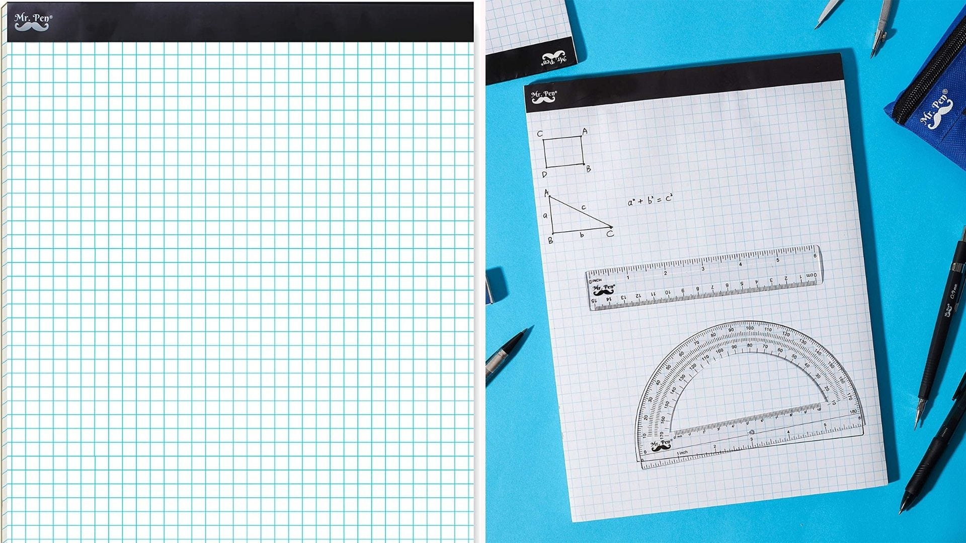 On the left, a closeup view of a 4-by-4 graph pad that features a perforated seal at the top. On the left, a ruler and protractor lie on the pad while surrounded by pencils and pens.