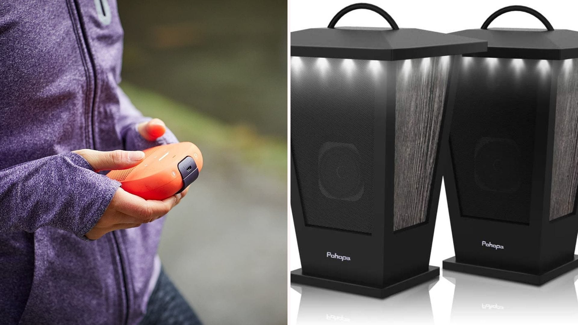 A person holding a portable orange speaker; two lantern-shaped speakers