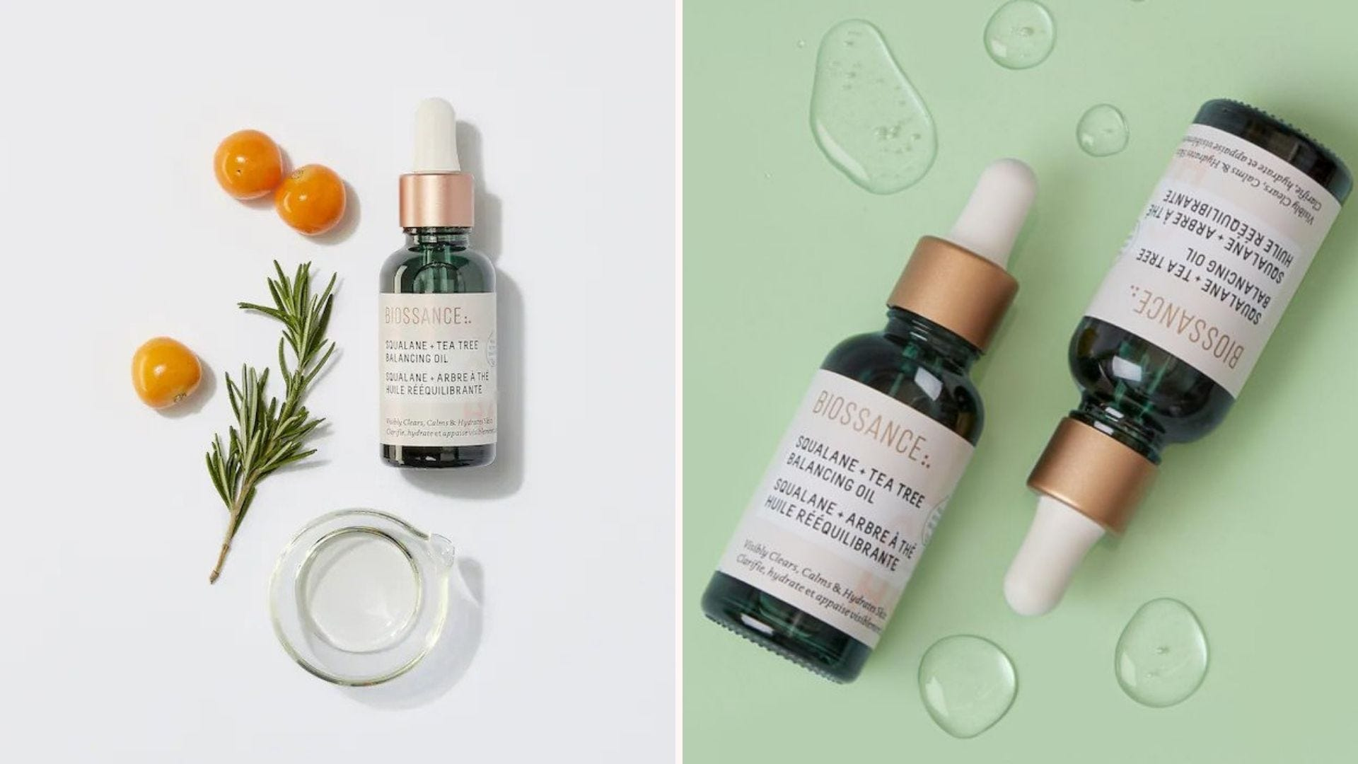 A green bottle of facial oil with a few ingredients around it; two bottles of oil with a few drops of oil next to them
