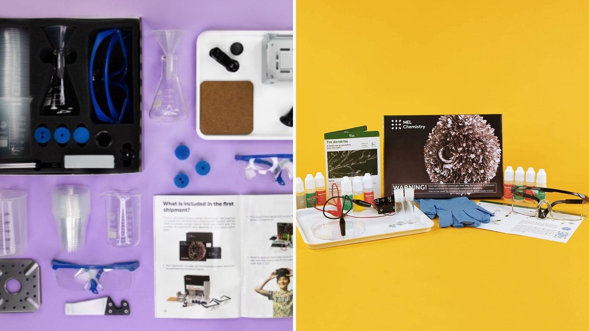 A set of chemistry supplies laid out on a purple background; a full kit on a yellow background