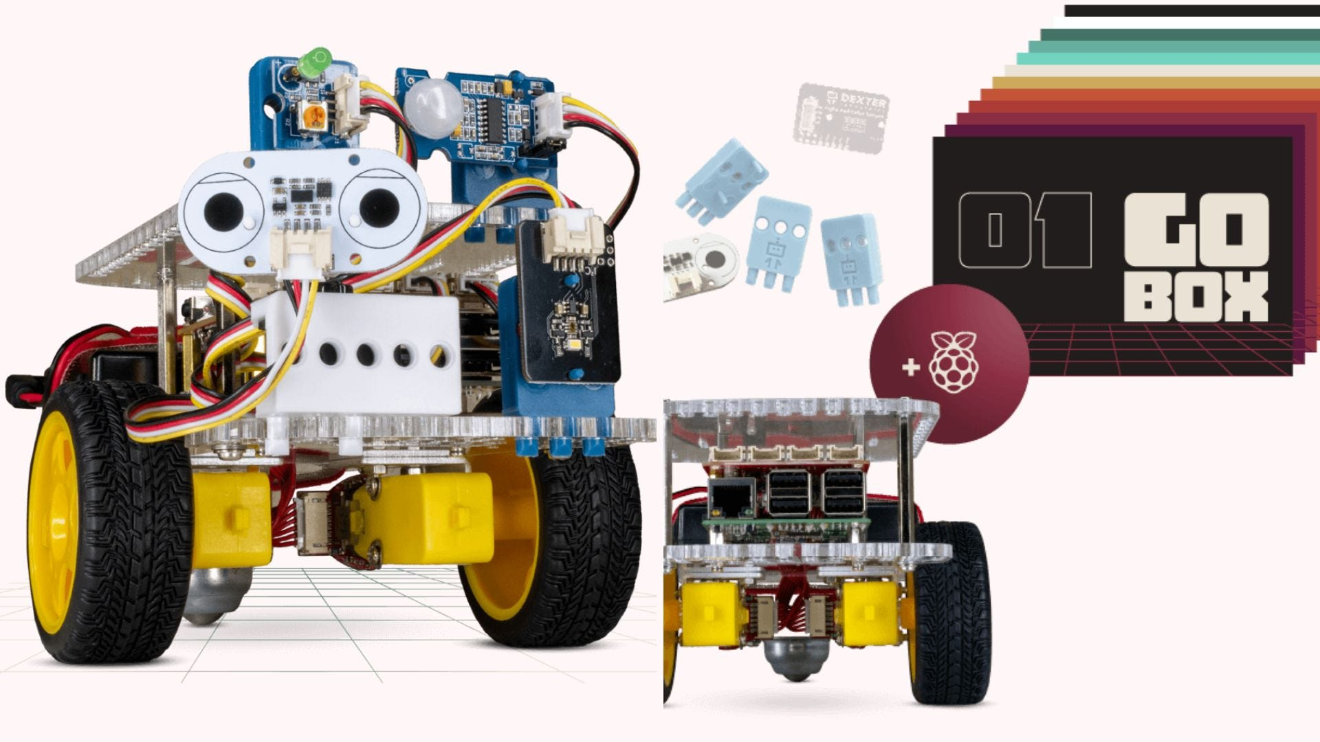 """A googly-eyed robot on wheels; side view of the robot along with several """"Go Box"""" cards"""