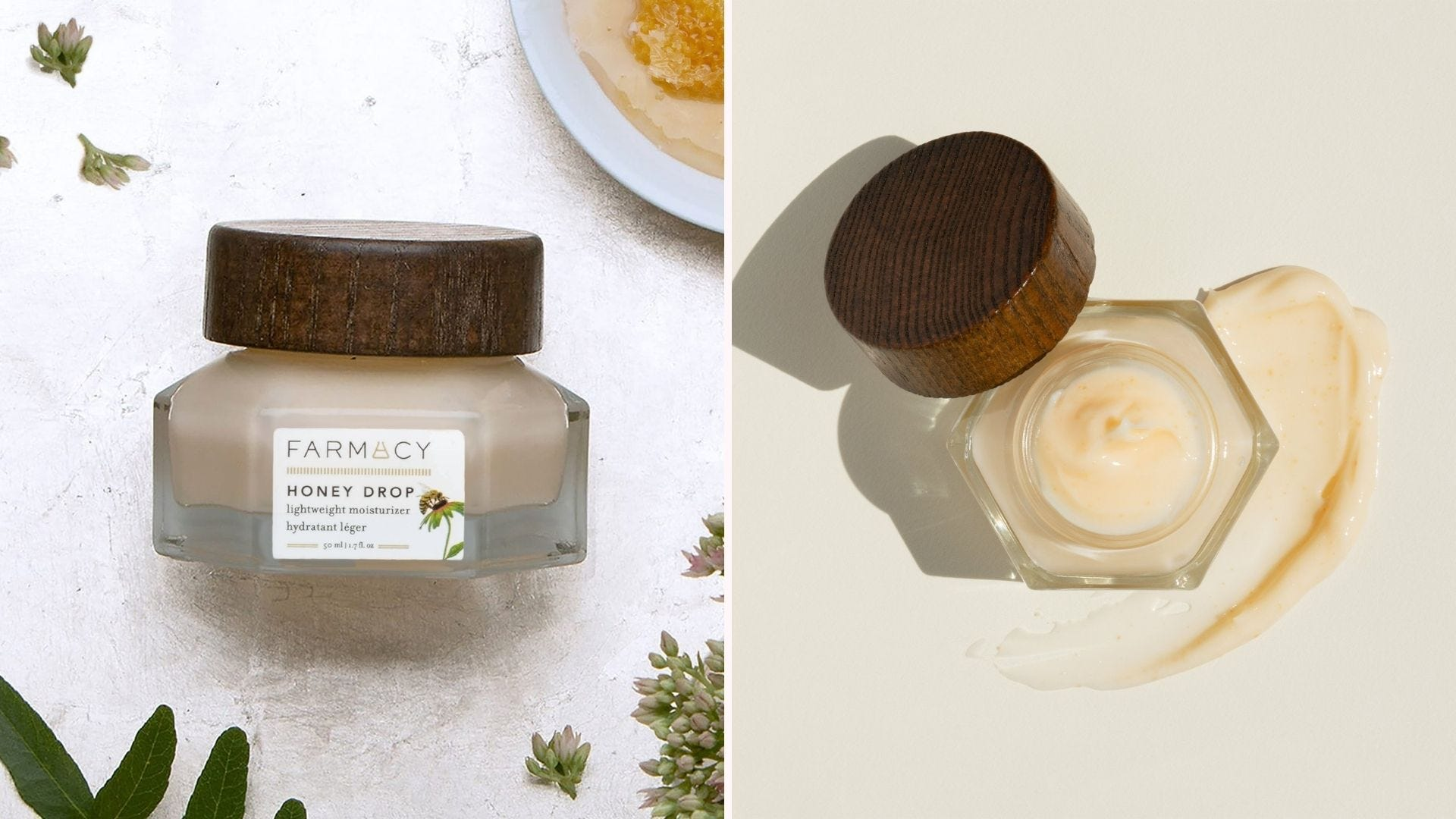 Side view of a glass jar of moisturizer with a wood lid; same jar, open and viewed from above with yellow cream inside