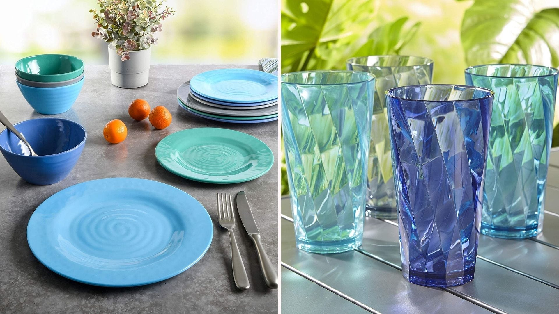 A set of blue and green dishes and bowls; a set of blue and teal glasses