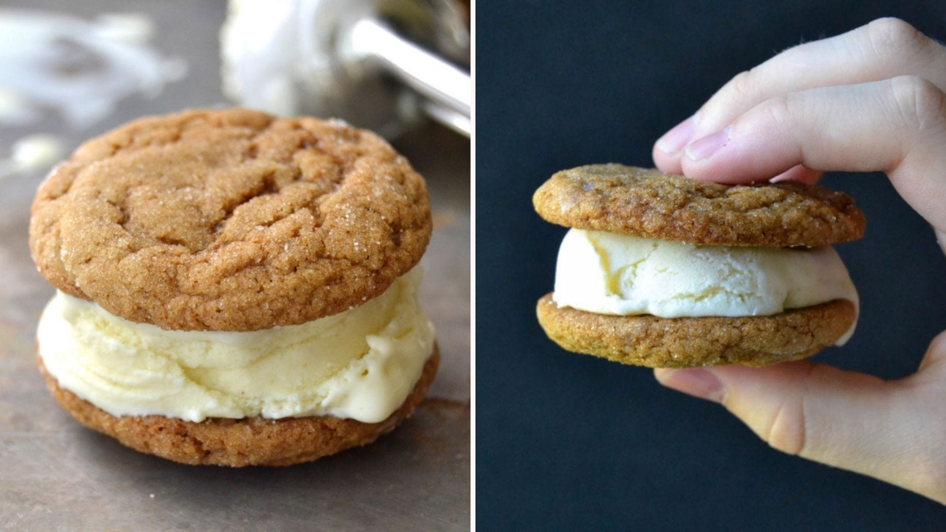 Two images of an ice cream sandwich made from ginger cookies and ice cream