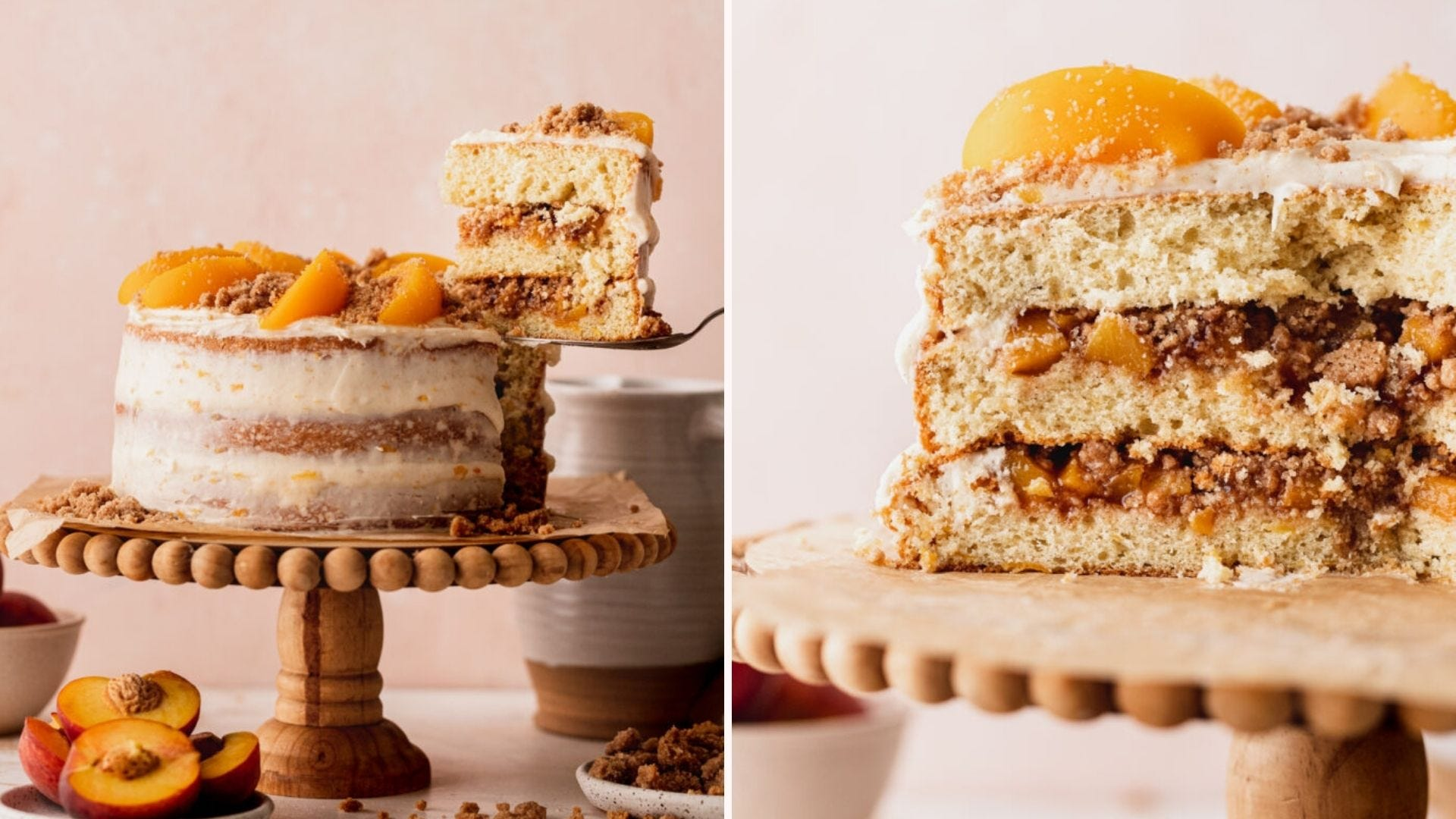 A peach layer cake on a wood cake stand; a view of the cake sliced open