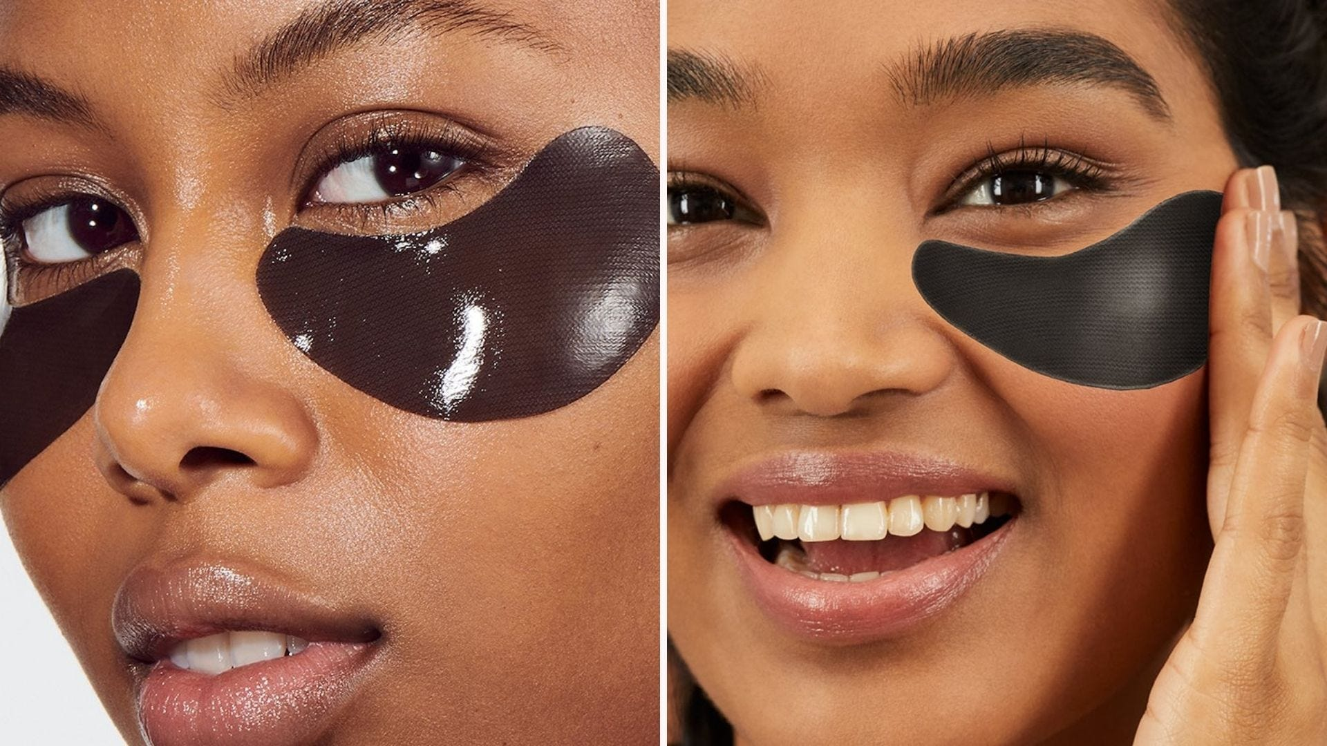 Two women with charcoal under eye masks on their faces