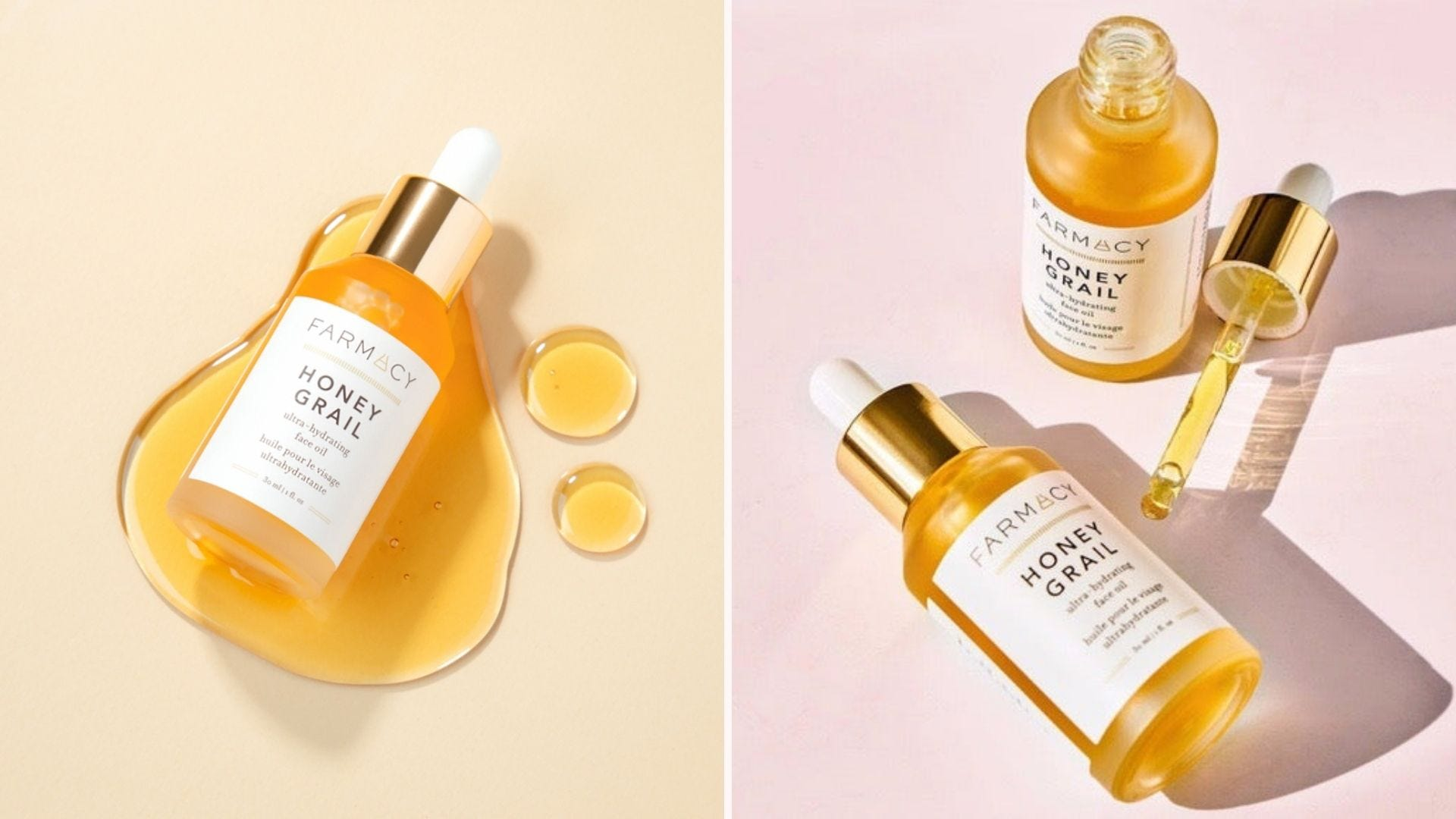 Bottles of gold-colored facial oil, both open and closed bottles