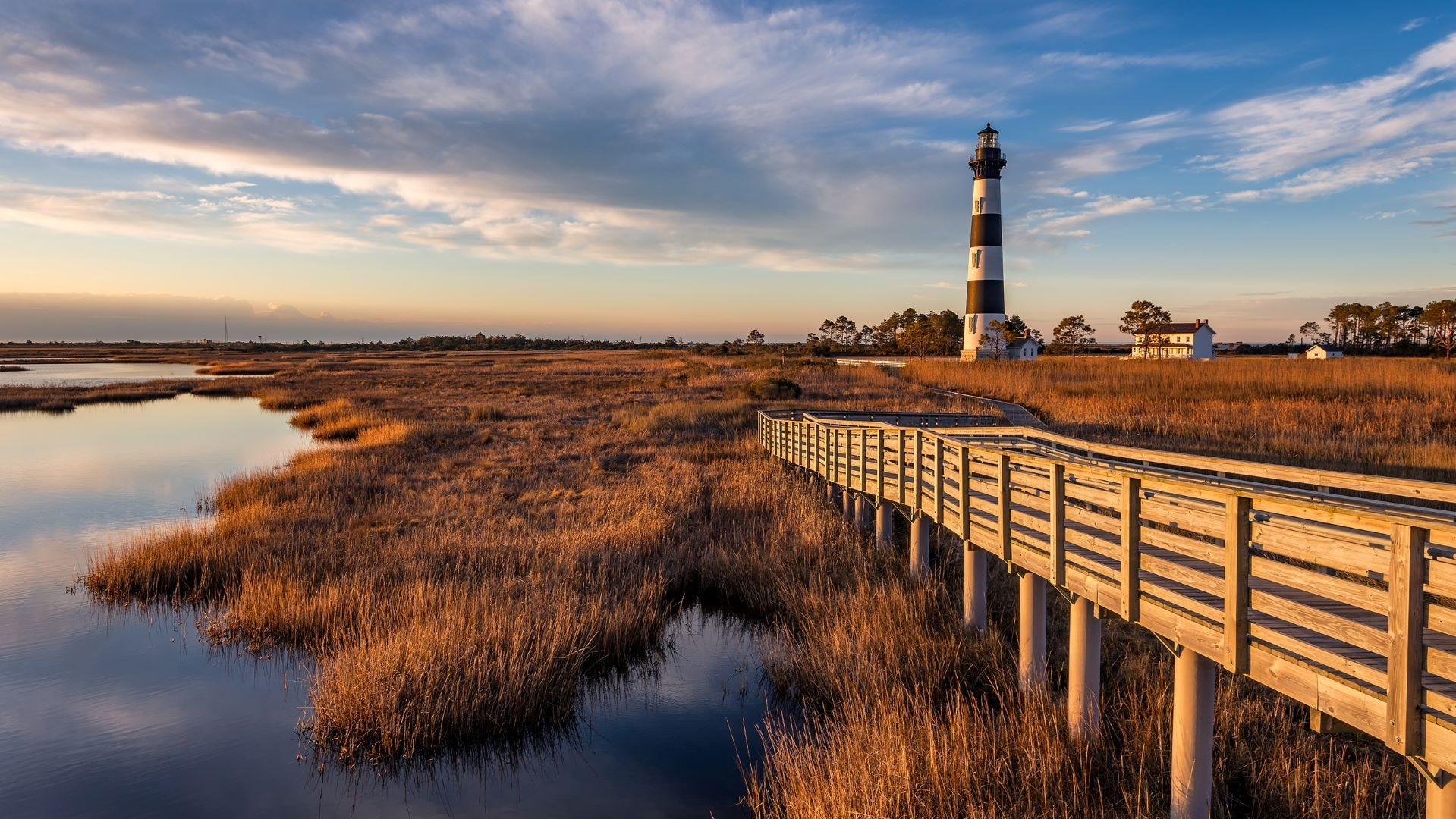 Cape Hatteras Lighthouse at dusk, Buxton, North Carolina.