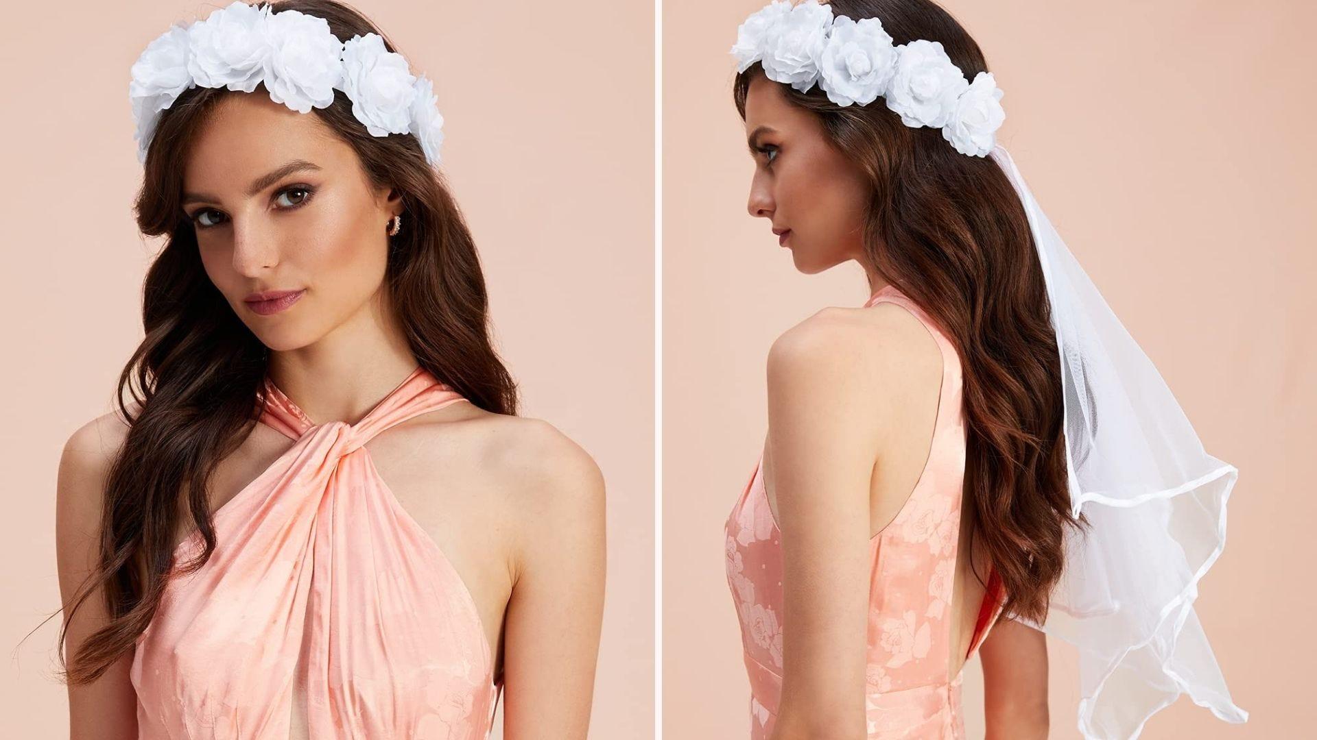 brunette model in peach dress wearing boho veil with white flower band