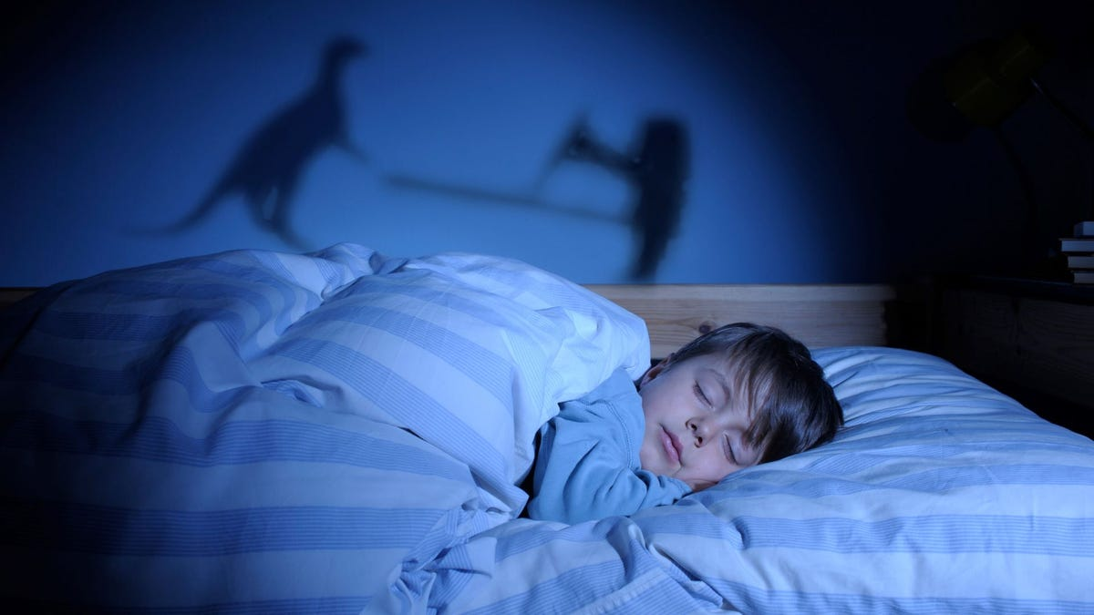 A little boy asleep in bed with shadows of a T-Rex and a man fighting behind him.