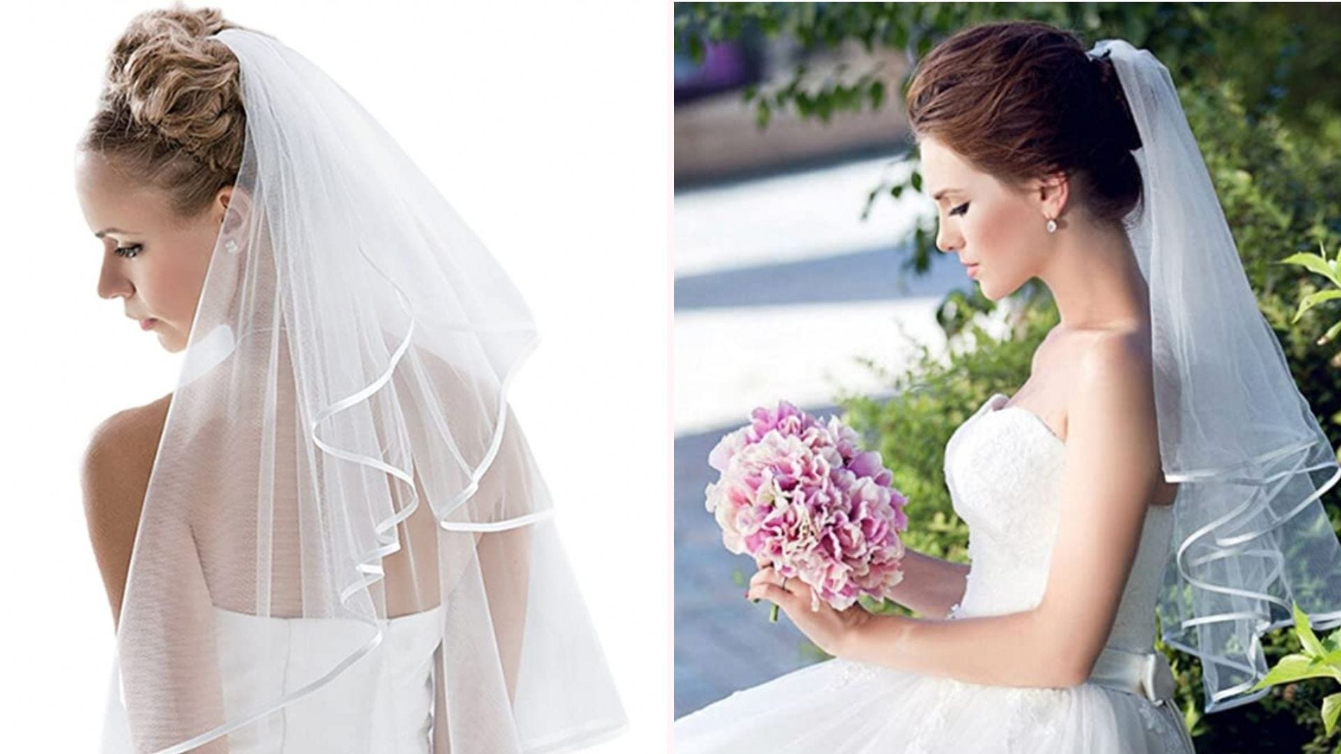 two brides wearing wedding gowns and a white veil with a satin edge that goes down to the waist