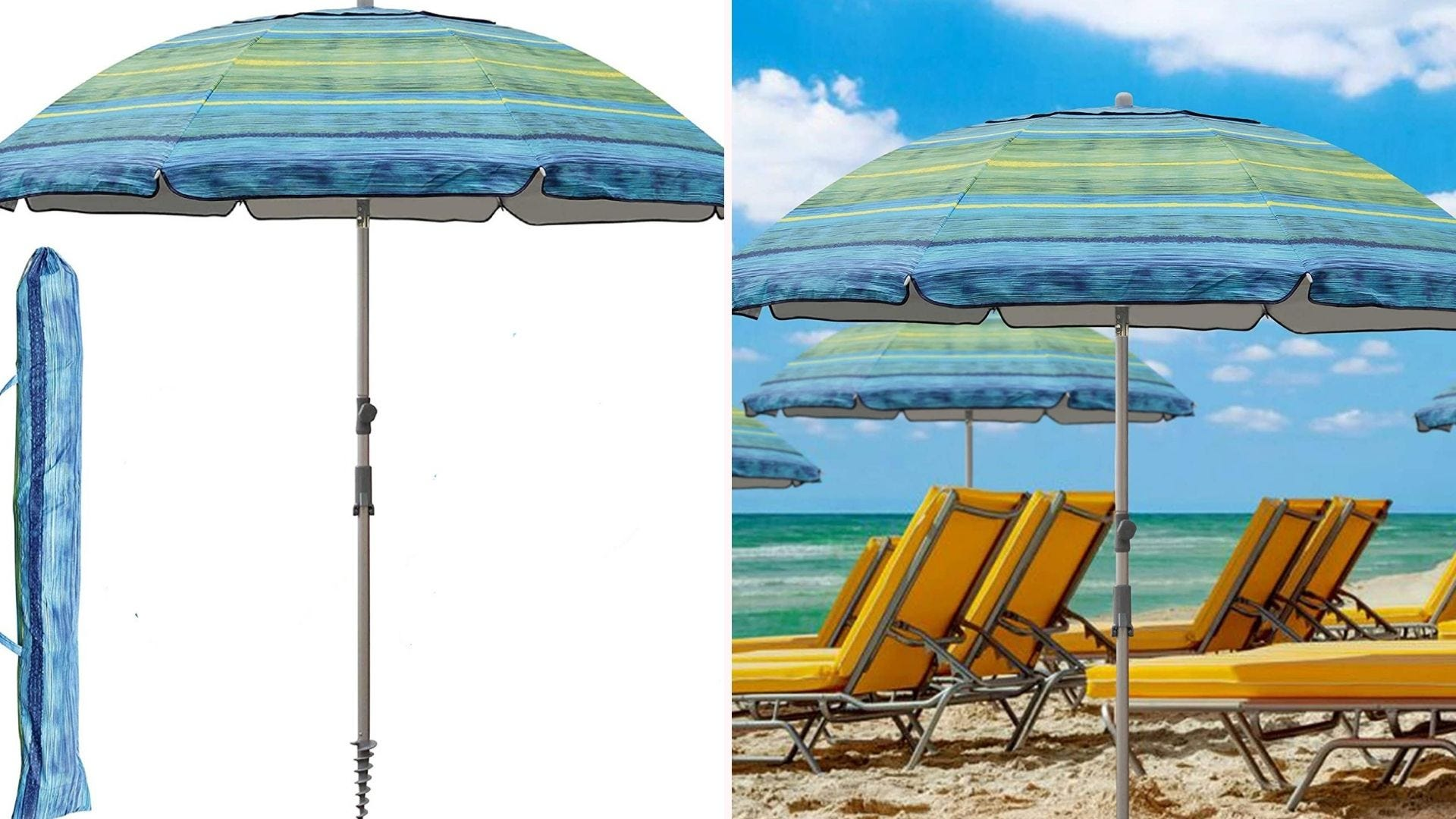 a blue and green beach umbrella shown with a carrying case and set up on a beach