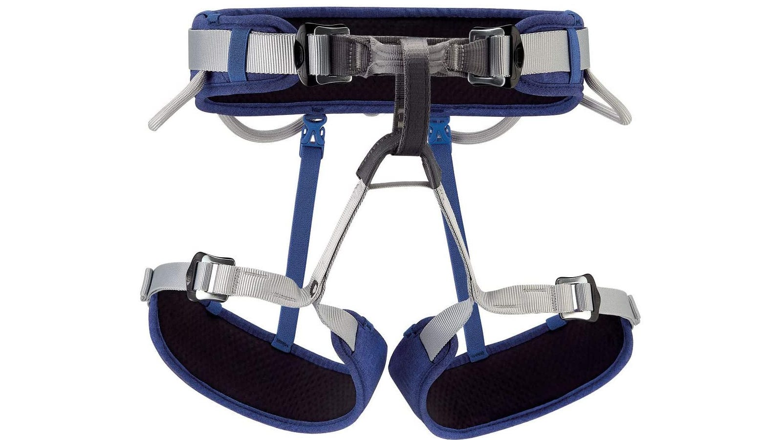 A blue and gray padded climbing harness.