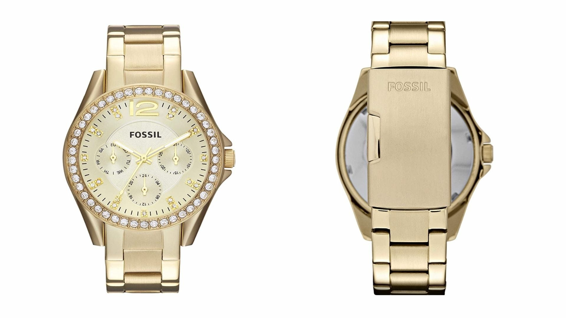 the front and back of a gold Fossil women's watch with rhinestones around the watch face
