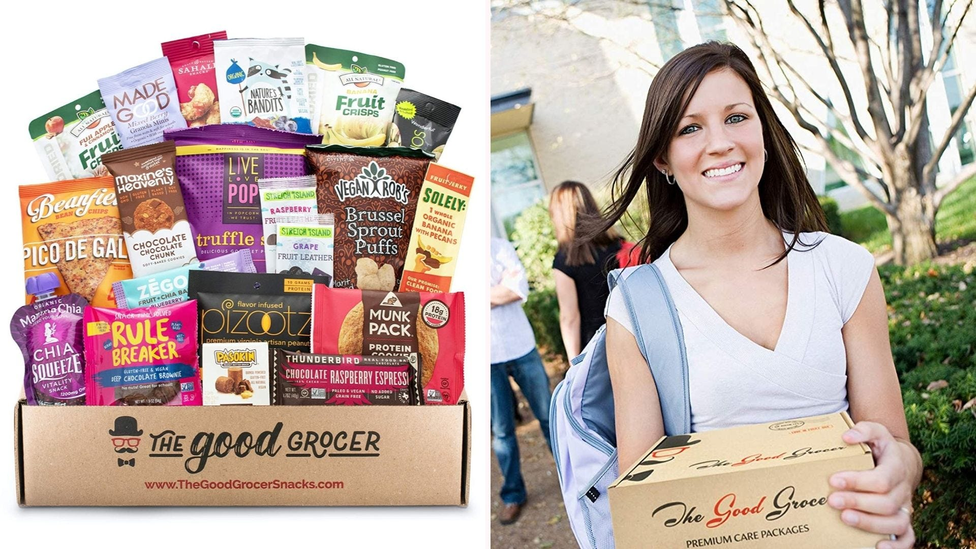 On the left, 20 health-conscious snacks sit in their cardboard packaging. On the left, a student walks across campus with the care package.