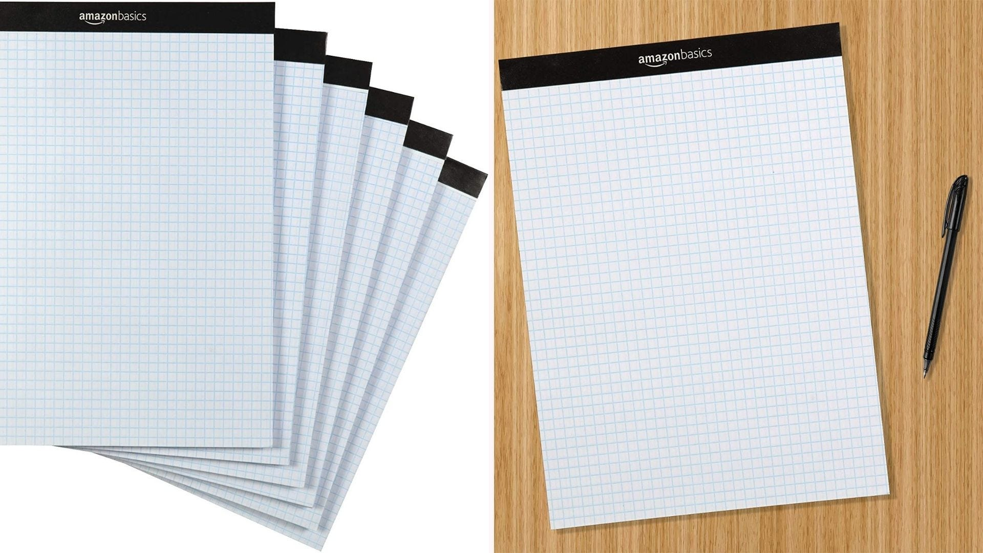On the left, a stack of six, 100-sheet graph pads that feature a perforated seal at the top. On the left, a single graph pad lies on a desk next to a pen.
