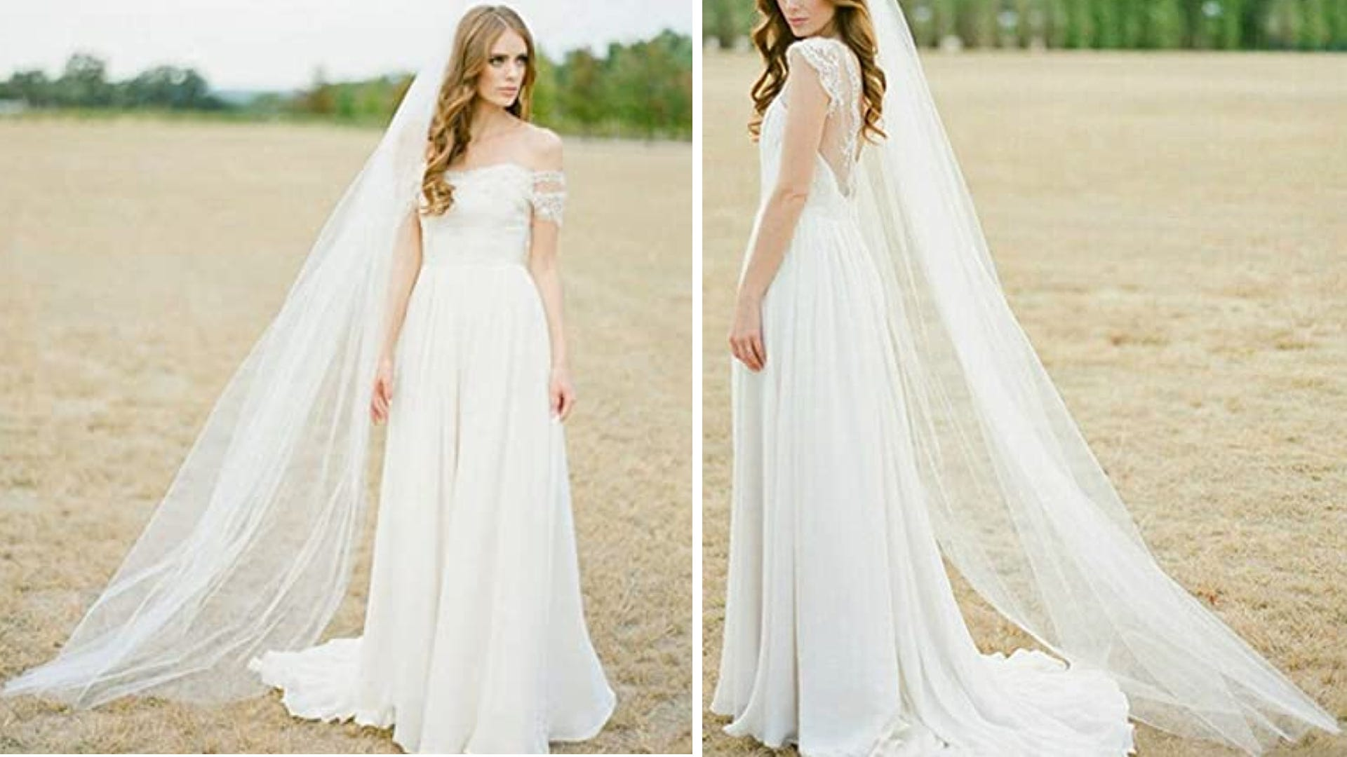 double pictures bride in cathedral veil and wedding dress in field