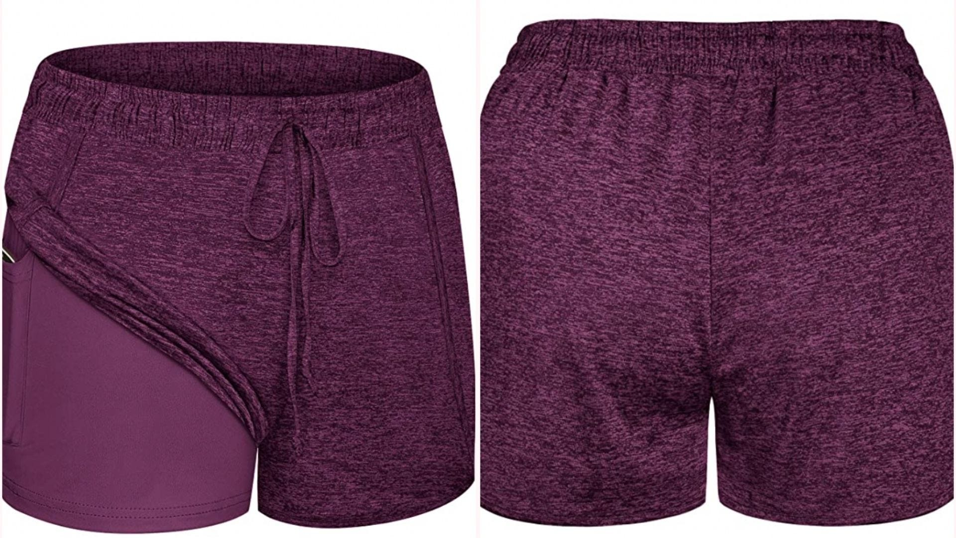 a pair of soft wine-colored athletic shorts with a drawstring and a liner