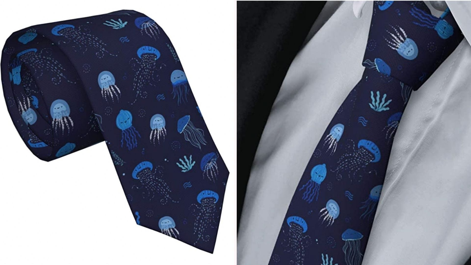 a navy blue necktie with blue jellyfish printed on it