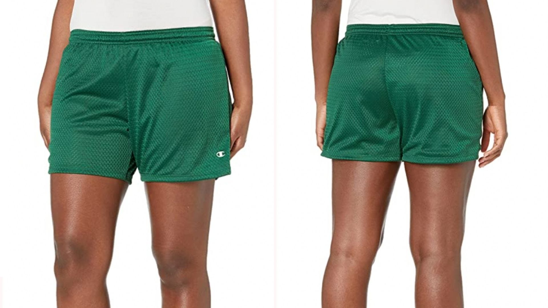woman wearing green athletic shorts with elastic waistband