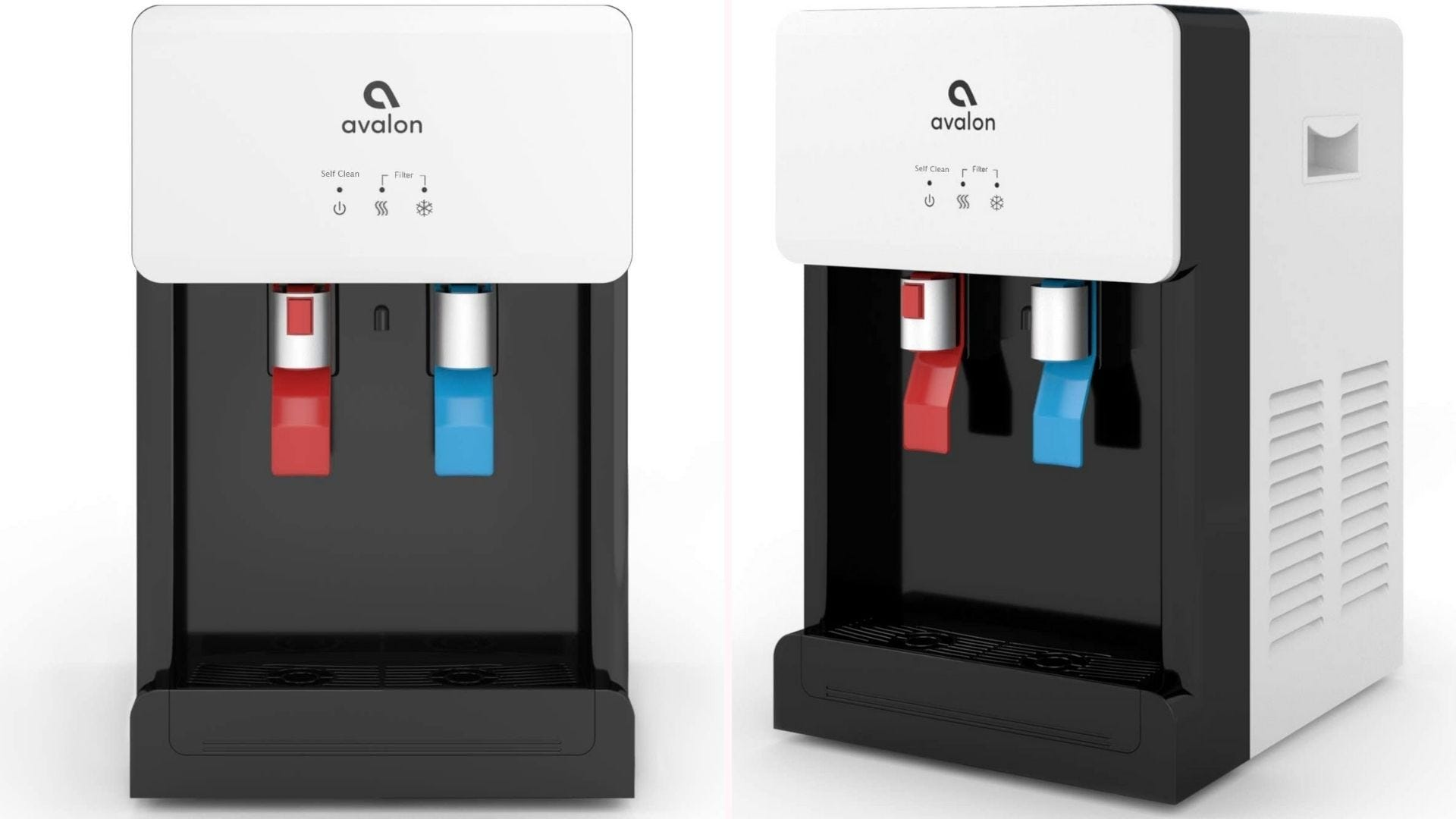 A front and side view of a white countertop water cooler with red and blue dispensers.