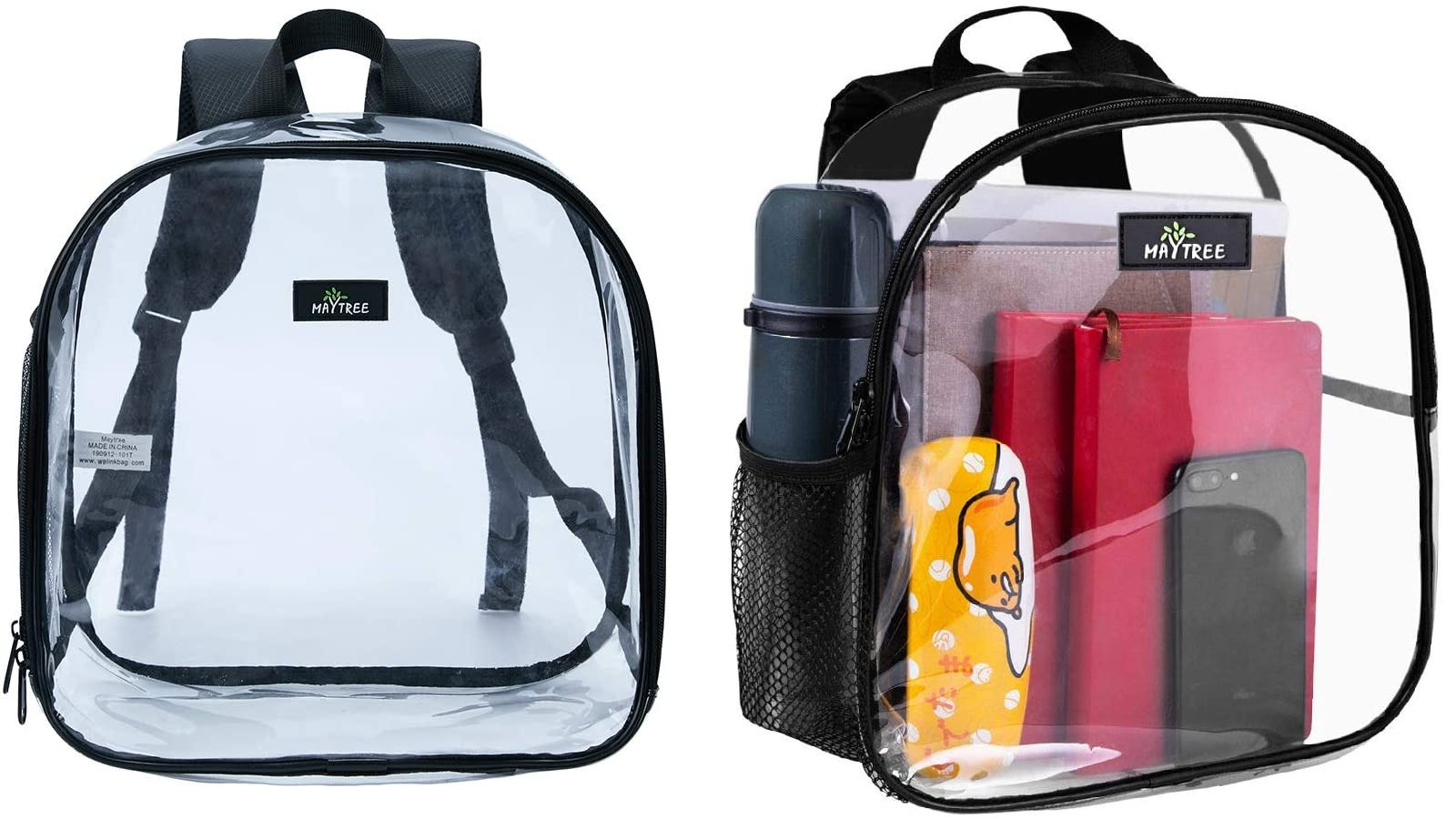 a clear mini backpack with one large compartment and a mesh side pocket shown empty and filled with notebooks