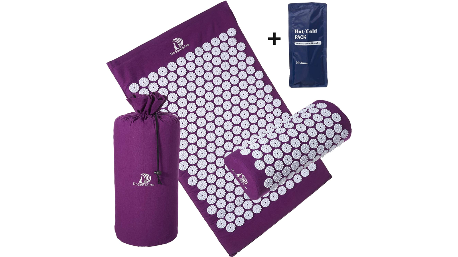 Rolled out purple mat and pillow, carry bag, and gel pack.