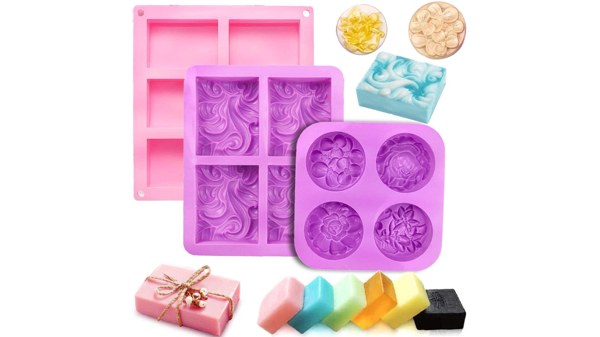 three differently sized and patterned silicone soap molds