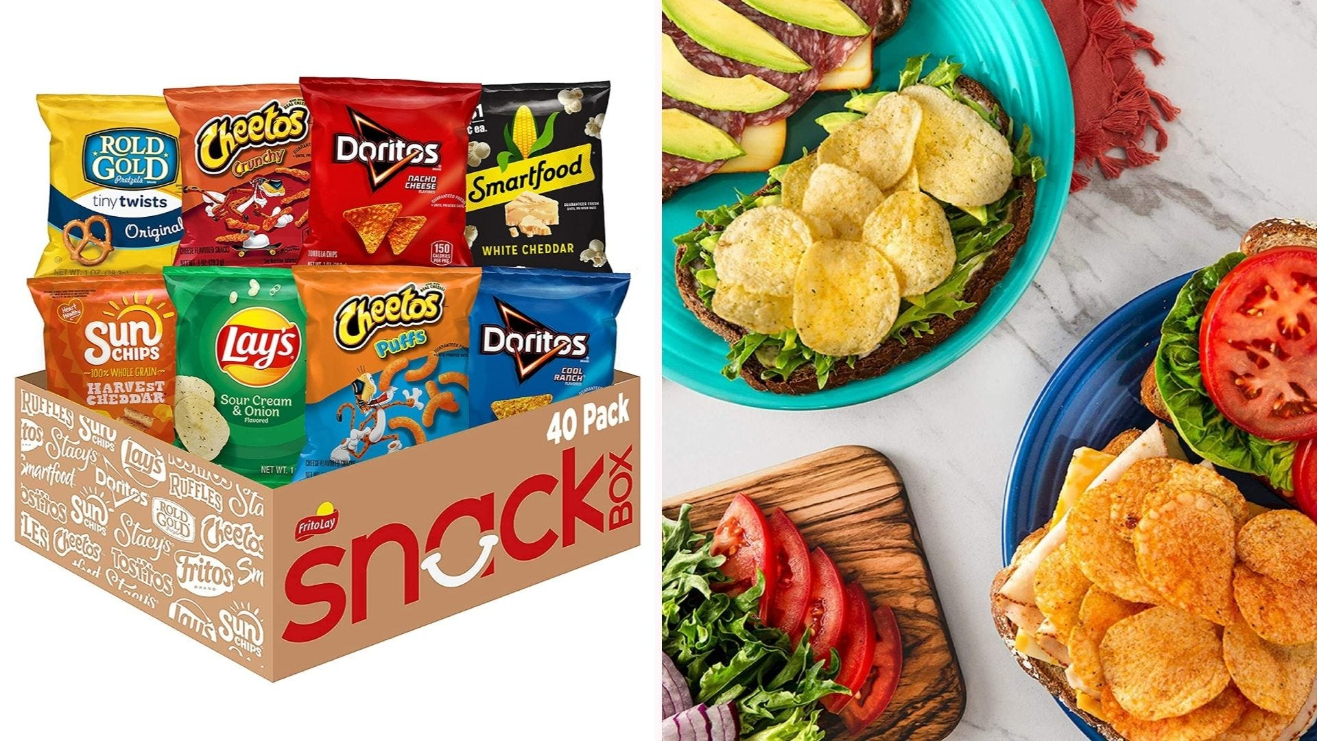On the left, eight differently flavored bags of chips sit in a cardboard box. On the right, two sandwiches are flipped open to reveal a layer of potato chips on top of their contents.