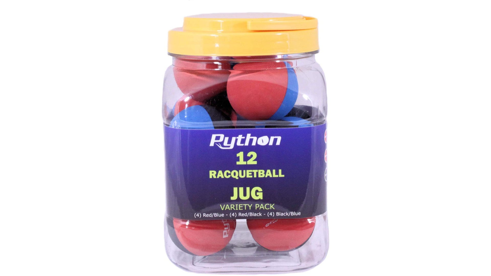 A tub of 12 multi-colored racquetballs.
