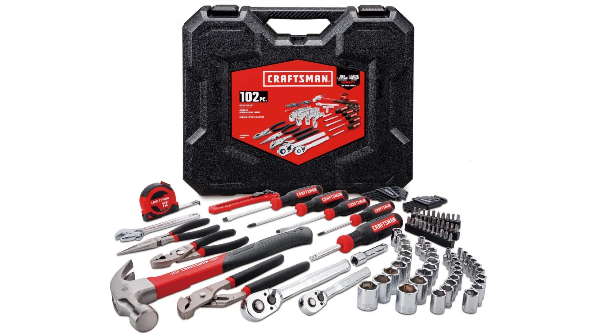 A Craftsman toolbox with a full set of tools sitting in front of it.